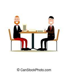 apartamento, estilo, conceito, pessoas escritório, ilustração, vetorial