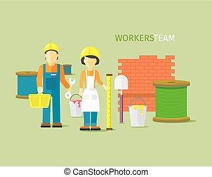apartamento, estilo, grupo, pessoas, trabalhadores, equipe