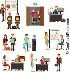 apartamento, estilo, jogo, elementos, pessoas negócio, ícones, vetorial, desenho