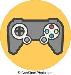 apartamento, estilo, joystick., vetorial, jogo