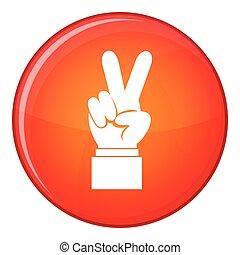 apartamento, estilo, mão, vitória, ícone, sinal