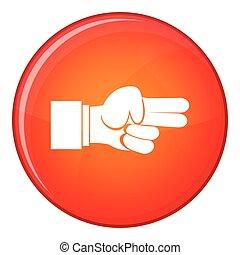 apartamento, estilo, mostrando, dois dedos, ícone, mão