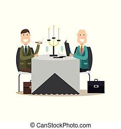 apartamento, estilo, pessoas negócio, ilustração, vetorial