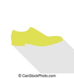 apartamento, estilo, sapatos, sinal., homens, pêra, sombra, path., ícone