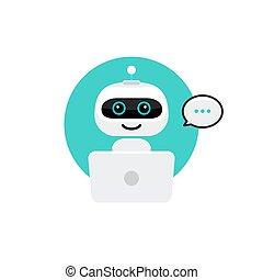 apartamento, estilo, serviço, bot, chatbot, personagem, robô, sinal, conversa, icon., concept., apoio