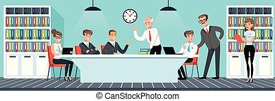 apartamento, estilo, trabalhando escritório, pessoas, negócio ilustração, vetorial, reunião