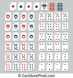 apartamento, estilo, vetorial, cartas de jogar