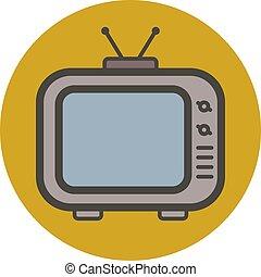 apartamento, estilo, vetorial, tv., antigas