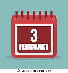 apartamento, fevereiro, ilustração, 3, vetorial, calendário, design.