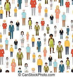 apartamento, grupo, padrão, pessoas., seamless, grande, vetorial, caricatura