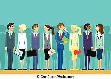 apartamento, grupo, pessoas negócio, vetorial, recursos humanos