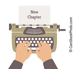 apartamento, história, novo, ilustração, escrita