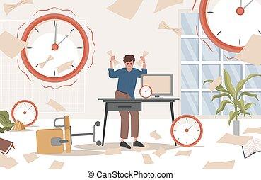 apartamento, illustration., cercado, mãos, escritório sujo, relógios, vetorial, seu, homem, documentos, cansado, ficar