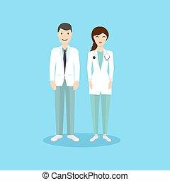 apartamento, illustration., doutor, ocupação, personagem, vetorial, femininas, macho, design.