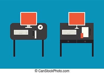 apartamento, ilustração computador, desktop