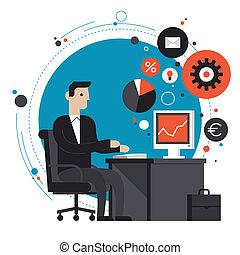 apartamento, ilustração, escritório, homem negócios