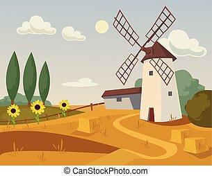 apartamento, ilustração, farm., vetorial, moinho, caricatura