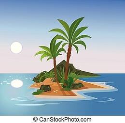 apartamento, island., uninhabited, ilustração, vetorial, caricatura