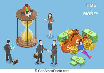 apartamento, isometric, conceito, tempo, roi., dinheiro, vetorial, crescimento, renda
