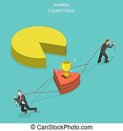 apartamento, isometric, negócio, concept., competição, vetorial