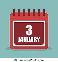 apartamento, janeiro, ilustração, 3, vetorial, calendário, design.