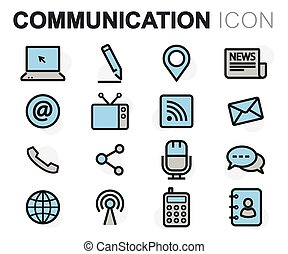 apartamento, jogo, ícones, comunicação, vetorial, linha