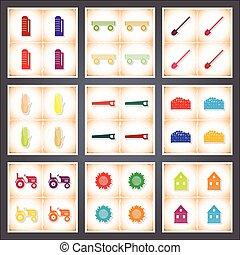apartamento, jogo, antigas, farm., papel, sombra, adesivos