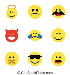 apartamento, jogo, elements., anjo, rosto, inclui, emoji, também, vetorial, emoticon, silêncio, objects., ícone, outro, sorrizo, feliz