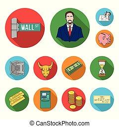 apartamento, jogo, finanças, sucesso, ícones, sifrão, cobrança, negócio, vetorial, teia, design., estoque, illustration.