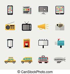 apartamento, mídia, ícones