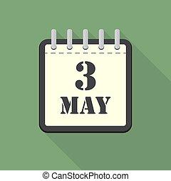 apartamento, maio, ilustração, 3, vetorial, calendário, design.
