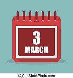 apartamento, março, ilustração, 3, vetorial, calendário, design.