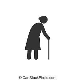 apartamento, mulher, antigas, illustration., cinzento, experiência., vetorial, branca, cane., design.