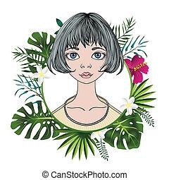apartamento, mulher, frame., coloridos, shortinho, jovem, isolado, cabelo, experiência., vetorial, floral, retrato, branca, redondo, illustration.