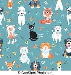 apartamento, padrão, seamless, gatos, desenho, cachorros