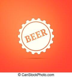 apartamento, palavra, boné, isolado, ilustração, experiência., cerveja, vetorial, garrafa, laranja, ícone, design.