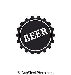 apartamento, palavra, isolated., boné, ilustração, cerveja, vetorial, garrafa, ícone, design.