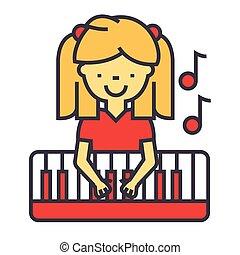 apartamento, pequeno, linear, menina, fundo, concept., editable, isolado, ilustração, tocando, vetorial, stroke., icon., piano, branca, pianista, linha, feliz