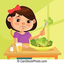 apartamento, personagem, ilustração, comer, não, vetorial, querer, criança, broccoli., menina, caricatura