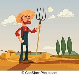 apartamento, personagem, ilustração, farm., vetorial, agricultor, caricatura, feliz
