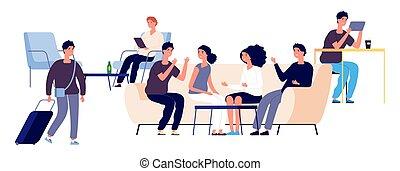 apartamento, pessoas, concept., homens, ilustração, lounge, characters., vetorial, feliz, albergue, mulheres