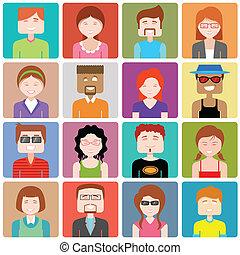apartamento, pessoas, desenho, ícone