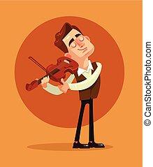 apartamento, playing., ilustração, violinist, vetorial, caricatura