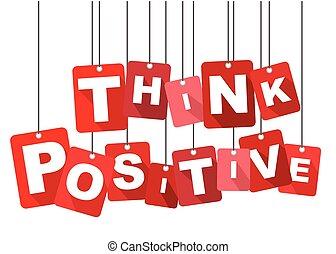 apartamento, positivo, positivo, vetorial, fundo, pensar, vermelho