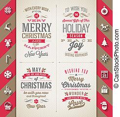 apartamento, projetos, jogo, ícones, -, longo, feriados, vetorial, ilustração, sombra, tipo, natal
