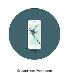apartamento, quebrada, iphone, círculo branco, ícone