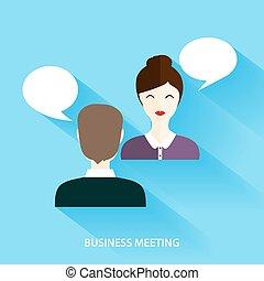 apartamento, rede, negócio, informal, mídia, concept., social, vetorial, homens negócios, executiva, meeting., tendo, illustration.