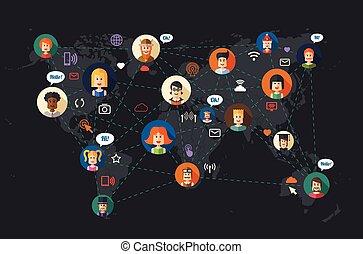 apartamento, rede, pessoas, modernos, communi, ilustração, desenho, social