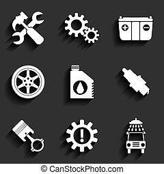 apartamento, serviço, car, set., vetorial, manutenção, ícone