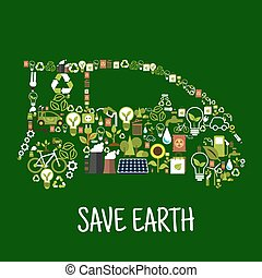 apartamento, silueta, ícones, eco, car, energia, verde